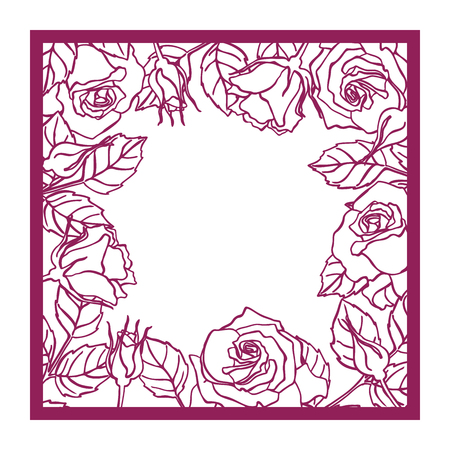 Laser cut vector rose square frame Cutout pattern silhouette with flower and leaves Die cut paper element for wedding invitations, save the date, greeting card. Square botanical cutting template panel