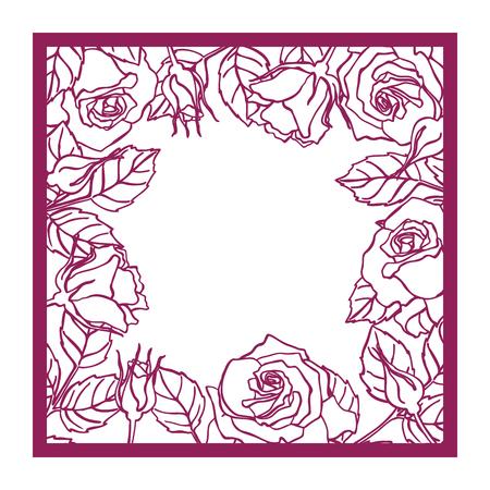 vecteur coupé au laser rose carré cadre de découpe de motif silhouette avec des fleurs et des feuilles Die coupé élément en papier pour les invitations de mariage, faites gagner la date, carte de voeux. Place botanique panneau de gabarit de découpe