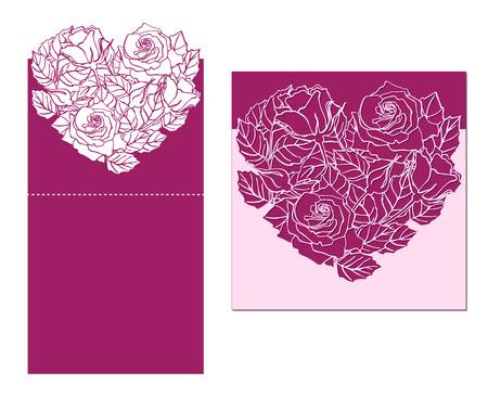 corte laser: corte por láser temlate tarjeta del vector con el ornamento del corazón rosa. silueta patrón de sustracción con flores y hojas. Die elemento de corte de papel para las invitaciones de boda, ahorre la fecha, tarjeta de felicitación. Panel de corte Vectores