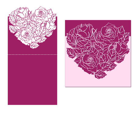 temlate: Laser cut vector card temlate with rose heart ornament. Cutout pattern silhouette with flower and leaves. Die cut paper element for wedding invitations, save the date, greeting card. Cutting panel Illustration
