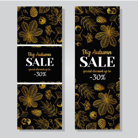 black berry: Autumn sale vector gold banner with leaves and berry. Hand drawn fall  illustration with frame and botanical elements. Great for banner, voucher, offer, coupon, black friday sale. Illustration