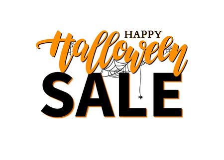 Halloween Sale vector banner with lettering, spider and web. Great for banner, voucher, offer, coupon, holiday sale, business promote Illustration