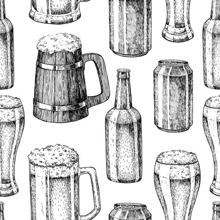 etch glass: Beer vector seamless pattern. Beer glass, mug, wooden mug, bottle. Alcohol beverage hand drawn background. Great for bar, pub, menu, oktoberfest