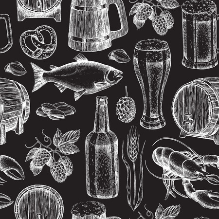 etch glass: Beer vector seamless pattern. Alcohol beverage hand drawn background. Beer glass, mug, wooden mug, bottle, barrel, snack, hop, wheat, fish, crayfish. Great for bar, pub, menu, oktoberfest