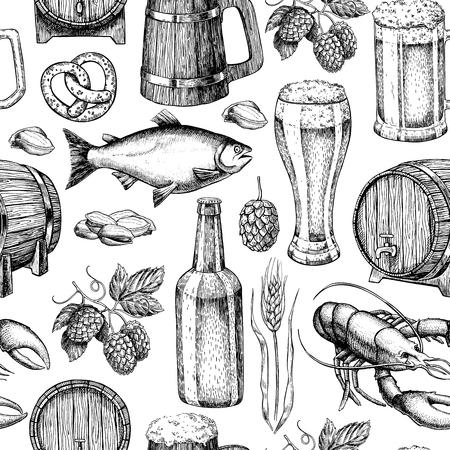 snack bar: Beer vector seamless pattern. Alcohol beverage hand drawn background. Beer glass, mug, wooden mug, bottle, barrel, snack, hop, wheat, fish, crayfish. Great for bar, pub, menu, oktoberfest