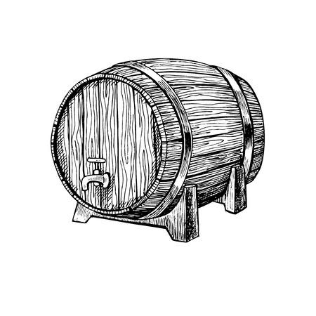 벡터 나무 통입니다. 손 새겨진 스타일에서 빈티지 일러스트를 그려. 알코올, 와인, 맥주 또는 위스키 오래된 나무 통. 술집이나 레스토랑 메뉴, 라벨,