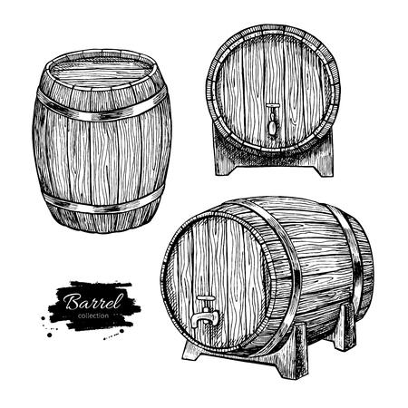 Wektor drewniane beczki. Ręcznie rysowane rocznika grawerowane ilustracji w stylu. Alkohol, wino, piwo lub whisky stare drewniane beczki. Wielki dla pubie lub restauracji menu, etykiety, plakaty, logo.