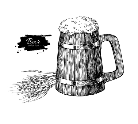 alcoholic drink: Wooden beer mug with wheat grain. Sketch style vector illustration. Hand drawn isolated beverage object on white background. Alcoholic drink drawing. Great for restaurant, bar, pub menu, oktoberfest Illustration
