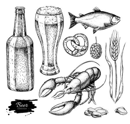 etch glass: Beer vector set. Alcohol beverage hand drawn illustration. Beer glass, mug, wooden mug, bottle, barrel, snack, hop, wheat, fish crayfish Great for bar pub menu oktoberfest