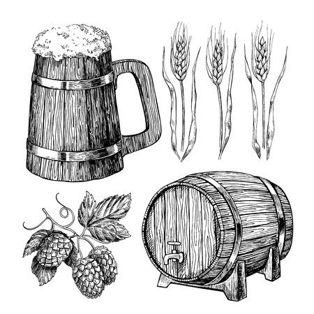 Beer vector set. Alcohol beverage hand drawn illustration.Craft Beer in wooden mug, barrel, hop, wheat grain. Great for bar, pub, menu, oktoberfest Иллюстрация