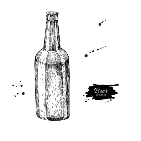etch glass: Beer glass bottle with splash. Sketch style vector illustration. Hand drawn isolated beverage object on white background. Alcoholic drink drawing. Great for restaurant, bar, pub menu, oktoberfest