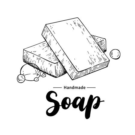 Handgemachte natürliche Seife. Vector Hand Illustration von Bio-Kosmetik mit Schriftzug gezogen. Groß für Etikett, Logo, Banner, Verpackung, Wellness und Körperpflege fördern Logo