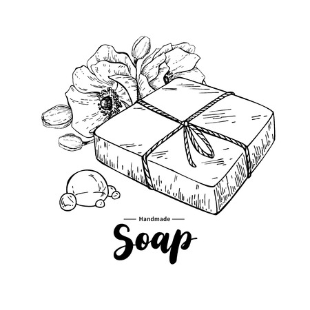 Handgemachte natürliche Seife. Vector Hand Illustration von Bio-Kosmetik mit Blumen und Schriftzug gezogen. Kräuter Körperpflege. Groß für Etikett, Logo, Banner, Verpackung, Wellness und Körperpflege fördern