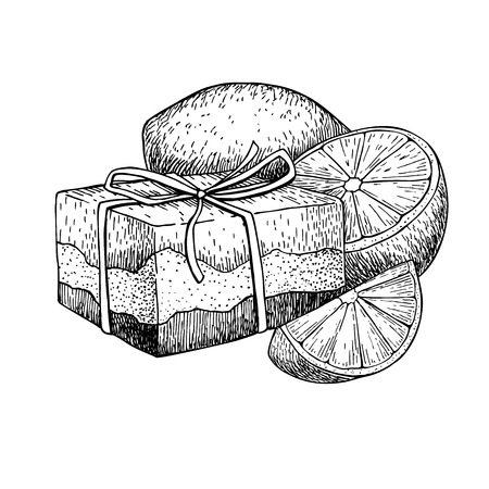 Handgemachte natürliche Seife. Vector Hand Illustration von Bio-Kosmetik mit Zitrone gezogen. Groß für Etikett, Logo, Banner, Verpackung, Wellness und Körperpflege fördern