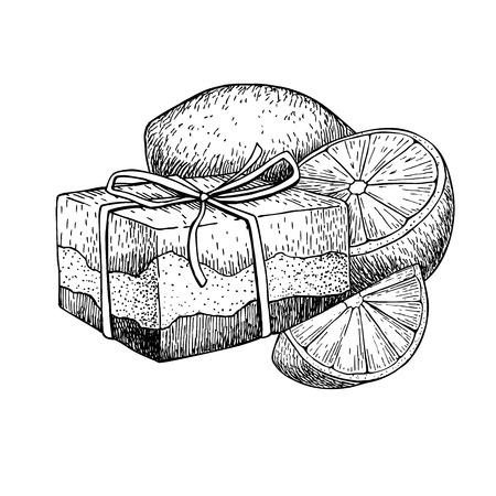 sapone naturale fatto a mano. Vettoriale mano disegnato illustrazione di cosmetici biologici con il limone. Grande per l'etichetta, logo, banner, l'imballaggio, la spa e la cura del corpo promuovono