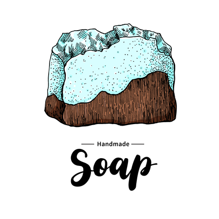 handmade soap: Handmade natural soap. Vector hand drawn illustration of organic cosmetic with lettering. Colorful artistic soap. Great for label, logo, banner, packaging, spa and body care promote