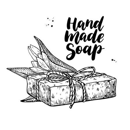 Handgemachte natürliche Seife. Vector Hand Illustration von Bio-Kosmetik mit Schriftzug und Teebaum Blume gezeichnet. Groß für Etikett, Logo, Banner, Verpackung, Wellness und Körperpflege fördern