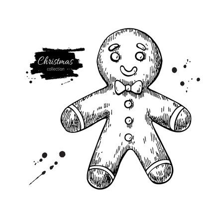 galleta de jengibre: hombre de pan de jengibre decorado con glaseado. Dibujado a mano ilustración vectorial. galletas de jengibre de Navidad tradicionales. Aislado postre vacaciones de Navidad.