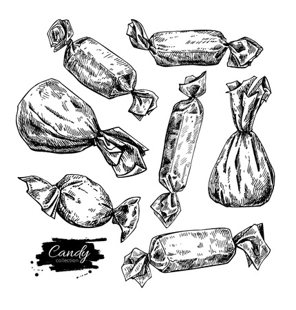 Candy set in hand drawn style. Vector isolated illustration. Sweet food detailed sketch.