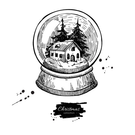 etch glass: Snow globe with house and fir tree inside. Christmas vector hand drawn illustration. Holiday card and vintage decor element.