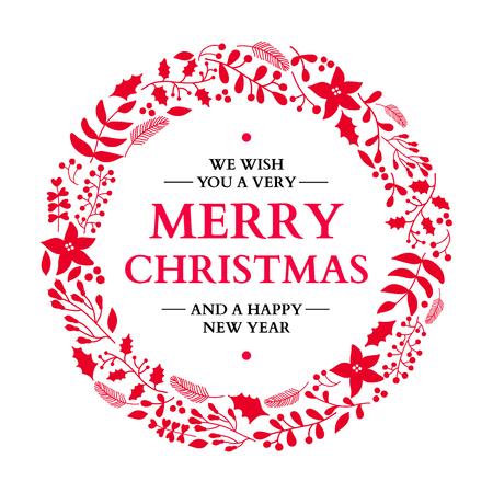 Kerst doodle krans met begroeting. Vector vakantiekaart in rood en wit. Xmas winter decor met hulst, maretak, poisettia, bloem, blad, bessen. Geweldig voor kaart, poster, winter decoratie. Stock Illustratie