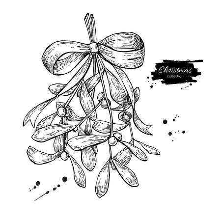 弓とリボンでヤドリギ。クリスマス装飾植物。手には、ベクター グラフィックが描画されます。植物クリスマス要素。ヒイラギの葉とベリー。カー