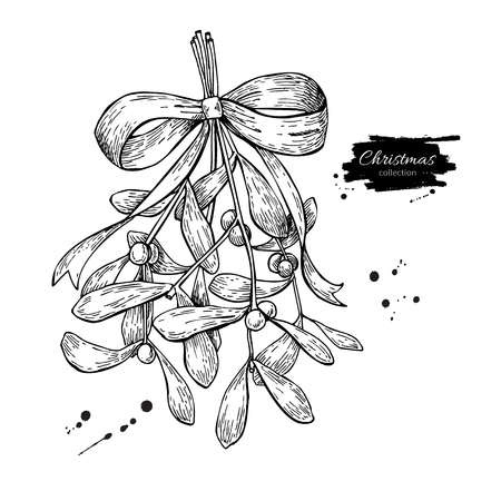Maretak met strik en lint. Kerstmis decor plant. Hand getrokken vector illustratie. Botanische xmas element. Hulst met bladeren en bessen. Geweldig voor kaart, poster, vakantie decoratie.