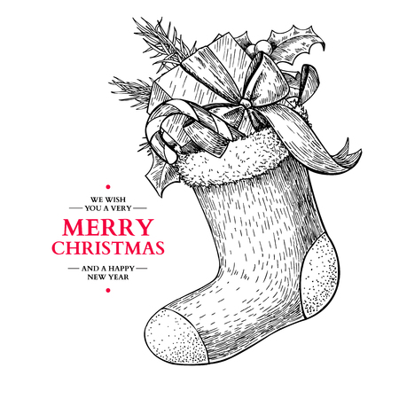 Christmas sock with holly, mistletoe, fir tree, candy and gift. Xmas stocking. Hand drawn vector illustration. Tradition holiday decor. Great for greeting and invitation cards, banners, postcards