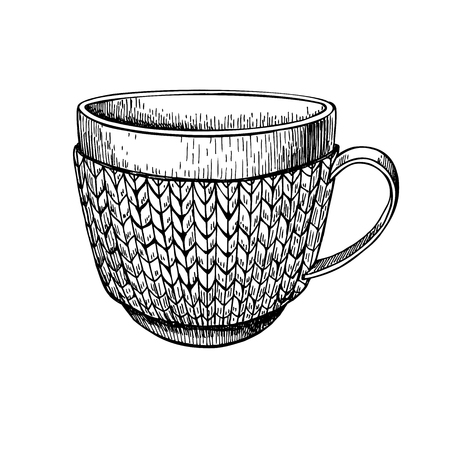 cold weather: Cup in knitted cozy sweater. Hand drawn vector illustration. Warm coffee or tea drink in cold weather. Christmas sketch Illustration