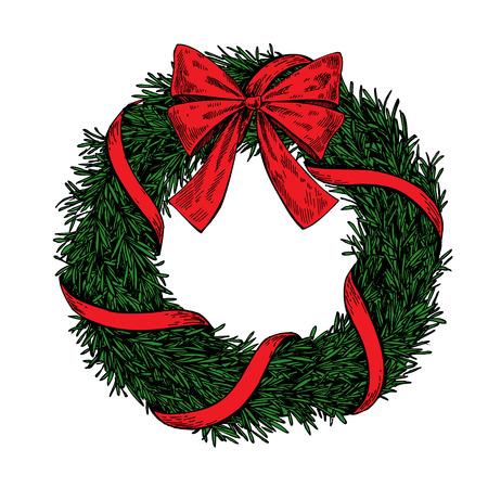 De kroon van Kerstmis. Vector hand getrokken illustratie met dennenboom takken, boog en lint. Gegraveerde traditionele xmas decoratie element. Geweldig voor groet en uitnodigingskaart, vakantie banner, postkaart