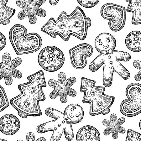 galleta de jengibre: galletas de Navidad de pan de jengibre patrón transparente decorada con hielo. Dibujado a mano de vectores de fondo. galletas de jengibre de Navidad tradicionales. El hombre, el corazón, el abeto de Navidad de fiesta postre tree.Isolated. Vectores