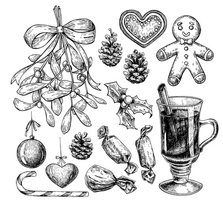Christmas object set. Hand drawn vector illustration. Xmas icons collection. Holiday engraved decorations. Holly, mistletoe, gingerbread man, mulled wine, pine cone, candy, xmas ball Ilustração