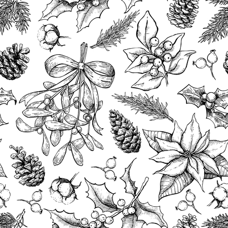 Christmas botanical seamless pattern. Hand drawn vector. Xmas plants. Holiday engraved decorations. Holly, mistletoe, poinsettia, fir tree, pine cone, cotton,berry Great for holiday decor
