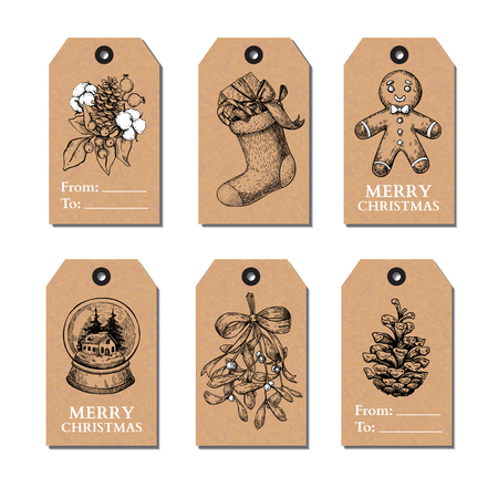 snow cone: Christmas vintage gift tags set. Vector hand drawn illustration. Botany, holly, mistletoe, sock, pine cone, snow globe, gingerbread man cookie.  Perfect for xmas holiday greetings