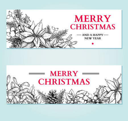 Christmas banner. Vector hand drawn illustration with holly, mistletoe, poinsettia, pine cone, cotton, fir tree . Engraved traditional xmas decoration garland element. Greeting card, holiday label