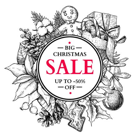 Christmas sale banner. Vector hand drawn illustration with holly, mistletoe, poinsettia, pine cone, sock, toy, ball, candy, ginger man . Engraved xmas greeting card. Great for voucher, coupon card offerdiscount