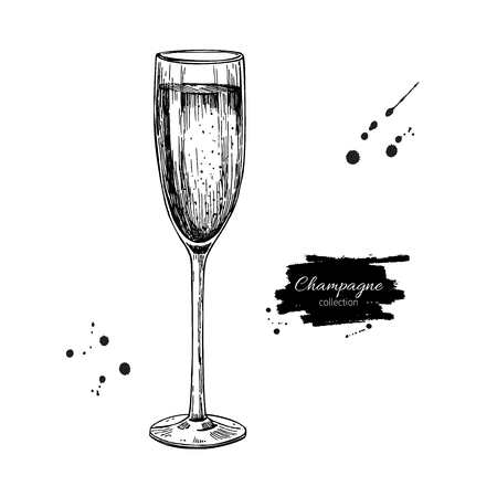etch glass: Champagne glass with bublles. Hand drawn isolated vector illustration. Alcohol drink in engraved style. Vintage Beverage sketch. Great for bar and restaurant menu, poster, banner. Celebration concept
