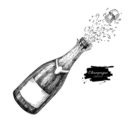 Champagne bottle explosion. Hand drawn isolated vector illustration. Alcohol drink splash with bublles. Vintage sketch. Beverage drawing for bar and restaurant menu, poster, banner. Celebration concept Vettoriali