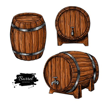 ベクトル木樽。手は、刻まれたスタイルでビンテージの図を描画します。アルコール、ワインやビール、ウイスキー古い木製樽。パブやレストラン