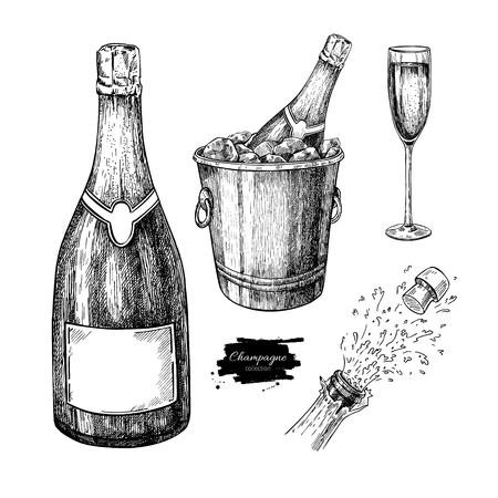 Champagne Set. Champagne glass, bottle,  ice bucket and explosion. Hand drawn isolated vector illustration. Alcohol drink in engraved style. Beverage sketch. Great for bar and restaurant menu. Celebration concept Vettoriali