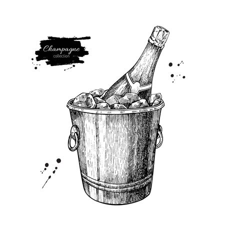 etch glass: Champagne bottle in ice bucket. Hand drawn isolated illustration. Alcohol drink in engraved style. Vintage sketch. Beverage drawing for bar and restaurant menu, poster, banner. Celebration concept