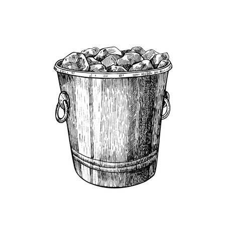 Ice bucket. Hand drawn isolated illustration. Jar for alcohol drink in engraved style. Vintage sketch. Drawing for bar and restaurant menu, poster, banner.
