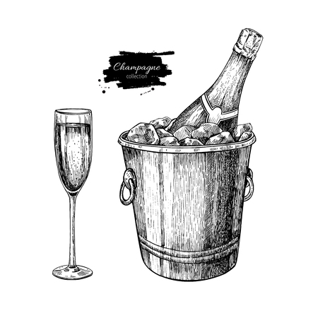 etch glass: Champagne glassand bottle in ice bucket. Hand drawn isolated illustration. Alcohol drink in engraved style. Vintage Beverage sketch. Great for bar and restaurant menu, poster, banner. Celebration concept Stock Photo