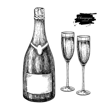 Champagne bottle and glass. Hand drawn isolated illustration. Alcohol drink in engraved style. Vintage Beverage sketch. Great for bar and restaurant menu, poster, banner. Celebration concept