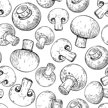 champignon: Champignon mushroom hand drawn vector seamless pattern. Sketch f