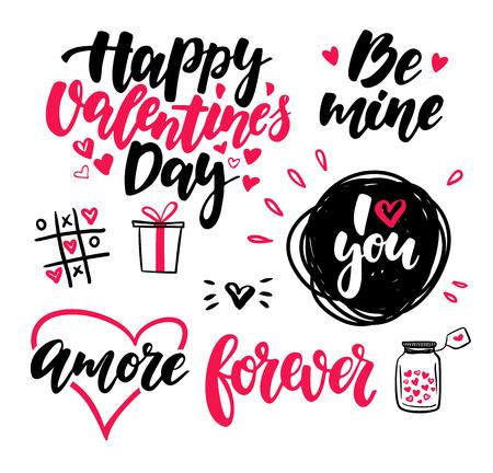 バレンタインの s 日レタリング ベクトルを設定します。孤立した手書きカルス  イラスト・ベクター素材