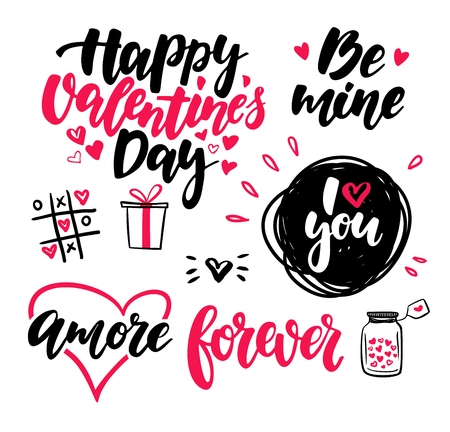 Valentine s Day lettering vector set. Isolated handwriting calli