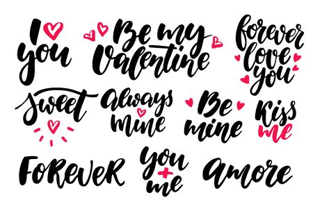 amore: Valentine s Day lettering vector set. Isolated handwriting calli Illustration