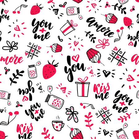 バレンタインの s 日はベクターのシームレスなパターンです。孤立した功妙な落書き図面、レタリング、愛引用符。
