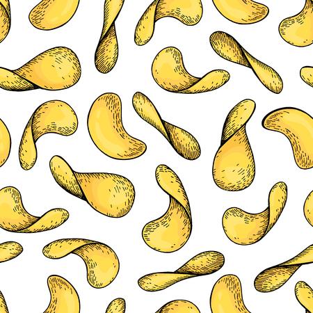 potato chips: Potato chips vector seamless pattern. Hand drawn food